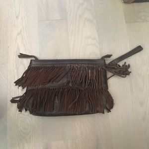 French connection brown fringe clutch - like new